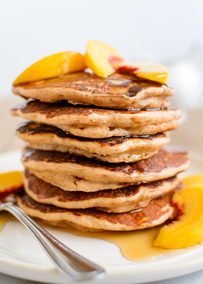 Fluffy Homemade Maple Peach Pancakes via forkknifeswoon.com