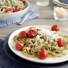 Spaghetti with Basil Pesto | Fork Knife Swoon