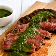 Grilled Steak with Spicy Chimichurri Sauce