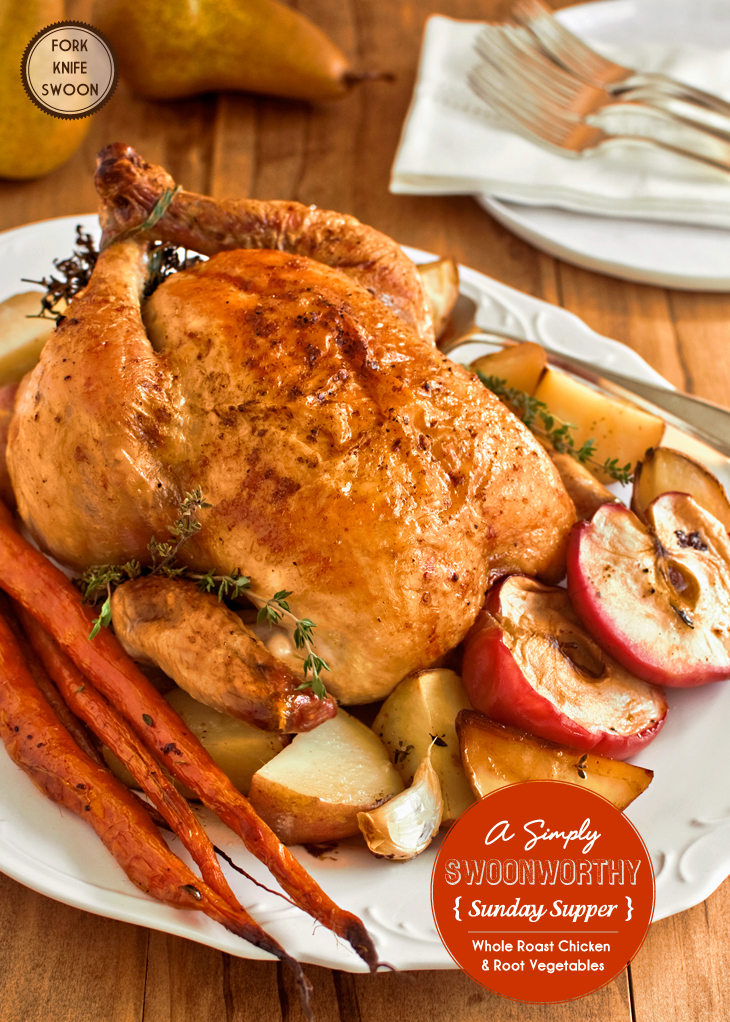 Whole Roasted Chicken with Lemons and Thyme