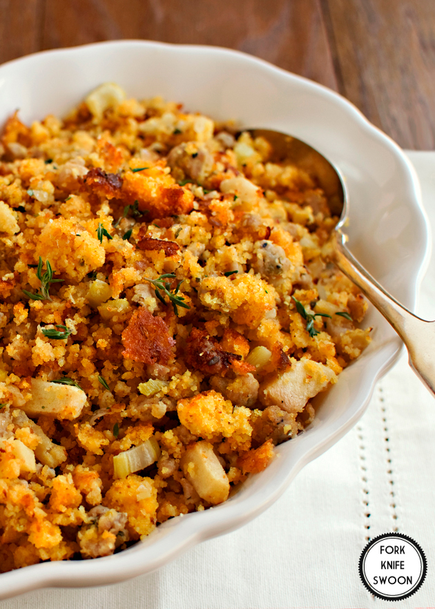 Apple, Sausage & Cornbread Dressing - Fork Knife Swoon