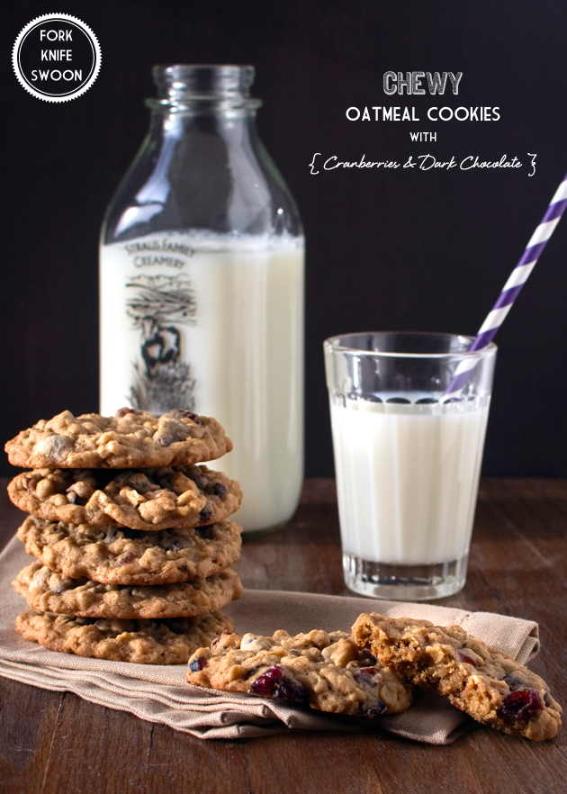 Chewy Oatmeal Cookies with Cranberries and Dark Chocolate