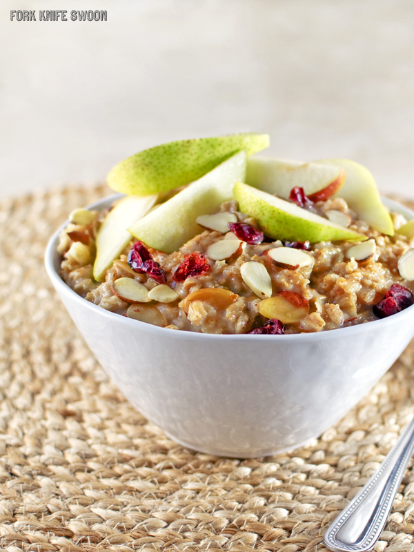 Brown Sugar Oatmeal with Cranberries and Almonds - Fork Knife Swoon