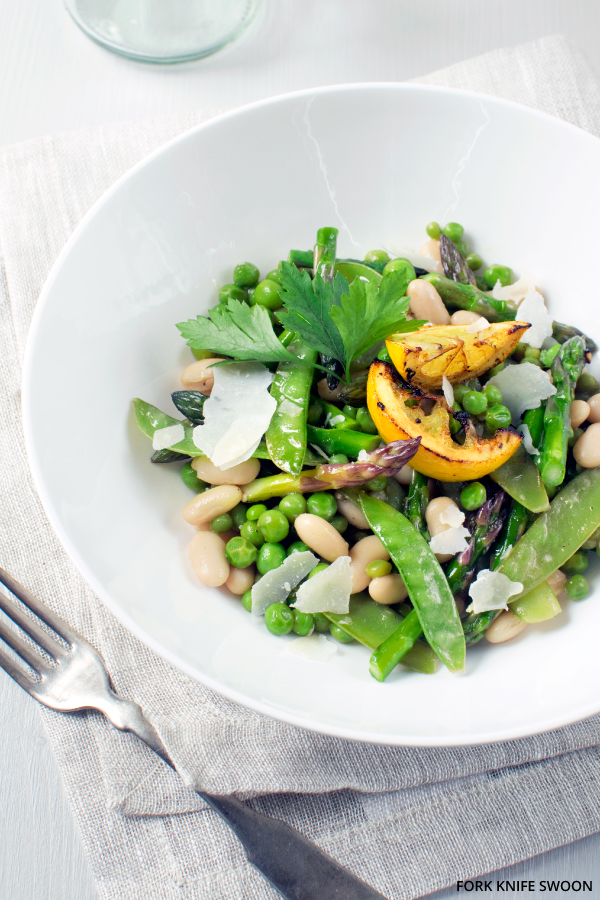 Spring Vegetable Salad with White Beans and Parmesan   Fork Knife Swoon