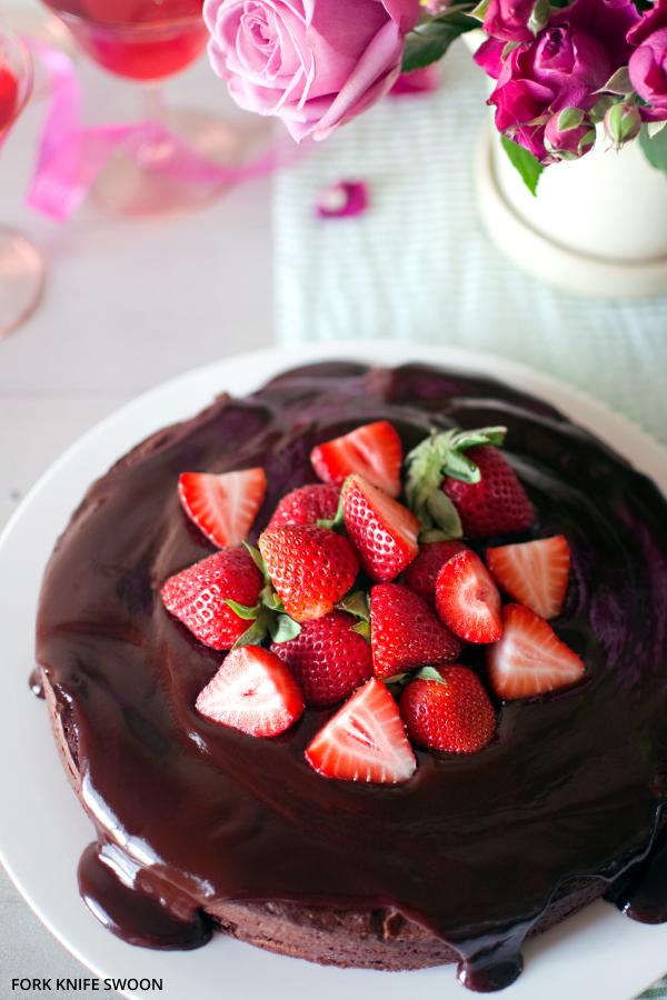 Dark Chocolate Cake with Ganache Glaze | Fork Knife Swoon