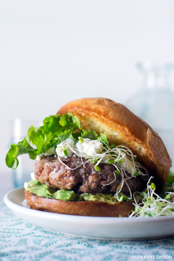 Lamb burger with goat cheese and avocado by Fork Knife Swoon on @thouswellblog