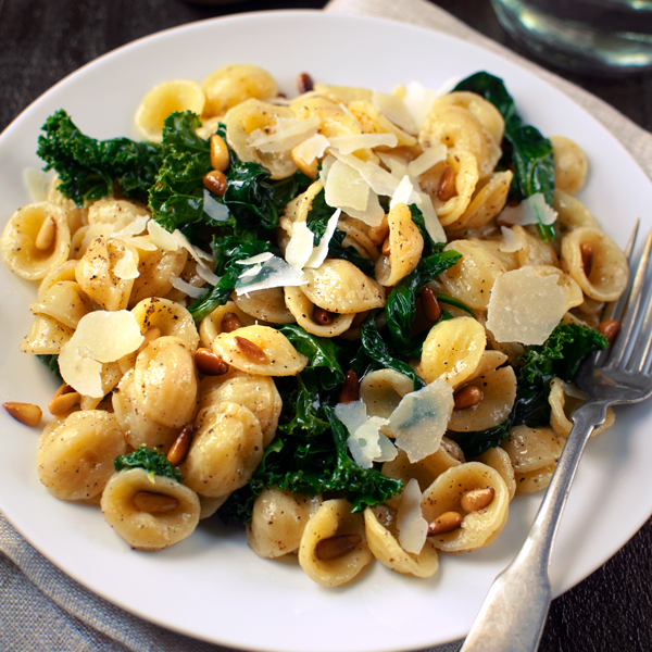 Orecchiette with Wilted Spinach, Kale and Toasted Pine ...