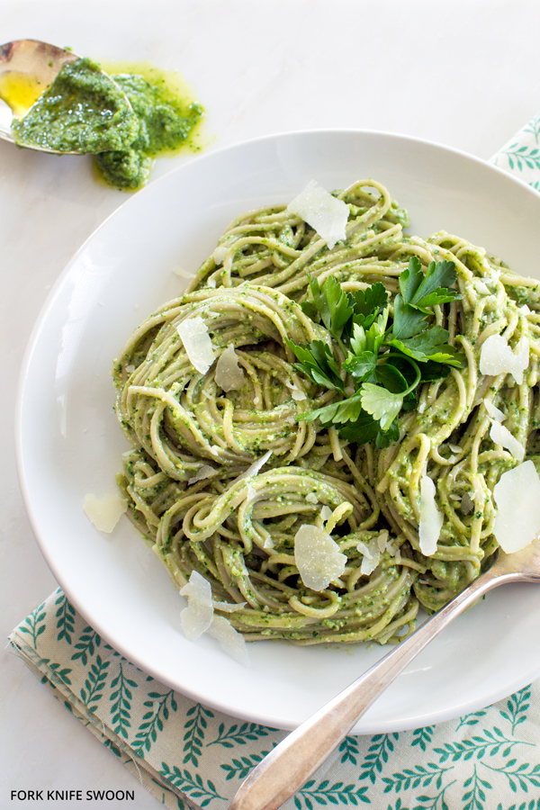 Soba Noodles with Lemony Kale Pesto | Fork Knife Swoon