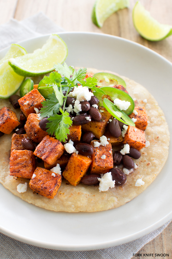 Chile Spiced Sweet Potato and Black Bean Tostadas   Fork Knife Swoon