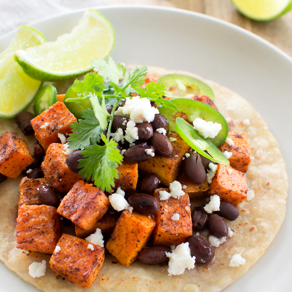 Chile Spiced Sweet Potato and Black Bean Tostadas - Fork Knife Swoon