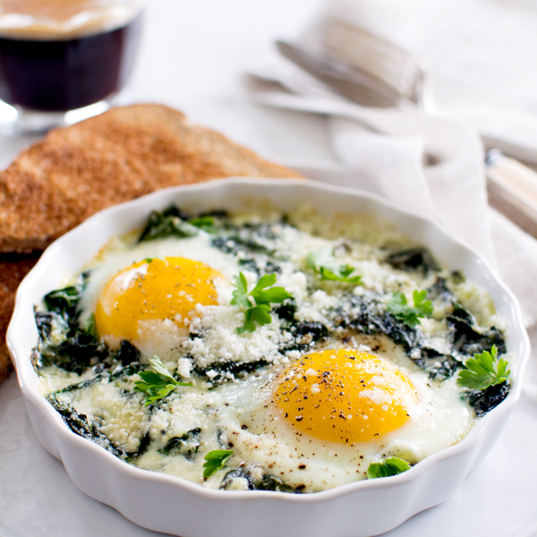Baked Eggs with Spinach and Swiss Chard - Fork Knife Swoon