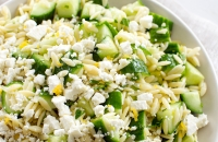 Lemony Orzo Pasta Salad with Cucumber and Feta   Fork Knife Swoon