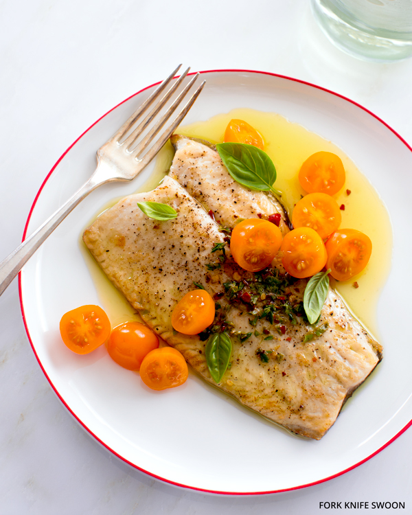 Pan-Roasted Trout with Tomatoes and Herbed Olive Oil   Fork Knife Swoon