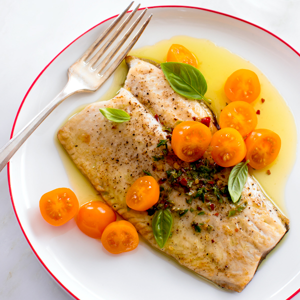 Pan-Roasted Trout with Tomatoes and Herbed Olive Oil | Fork Knife Swoon
