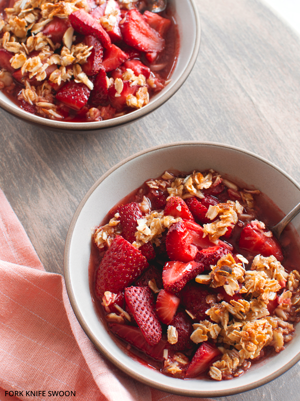 Strawberry Oatmeal Almond Crisp | Fork Knife Swoon