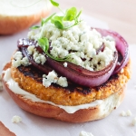 Sweet Potato and Quinoa Burgers with Caramelized Onions and Blue Cheese | Fork Knife Swoon