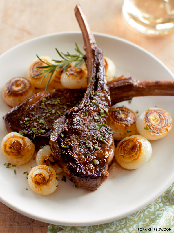 Pan-Seared Lamb Chops with Cippolini Onions | Fork Knife Swoon