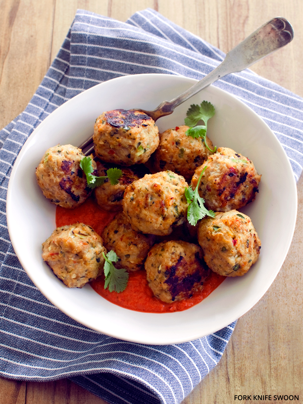 Thai-Spiced Chicken Meatballs with Roasted Red Pepper Curry Sauce   Fork Knife Swoon