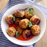 Thai-Spiced Chicken Meatballs with Roasted Red Pepper Curry Sauce | Fork Knife Swoon