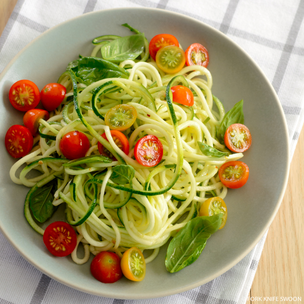 Zucchini Pasta with Cherry Tomatoes and Basil | Fork Knife Swoon