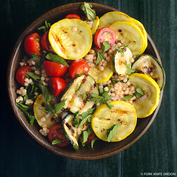 Grilled Summer Squash, Couscous and Tomato Salad