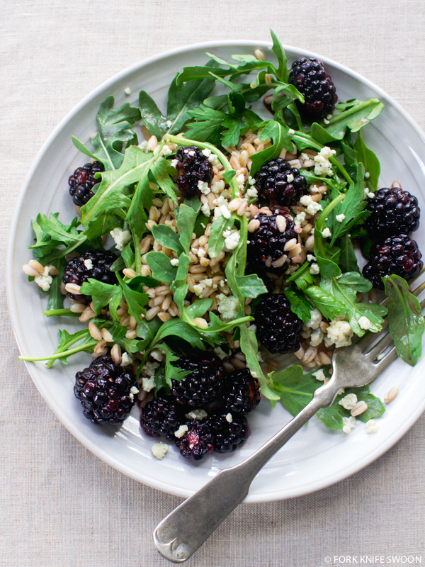 Blackberry, Farro and Arugula Salad | Fork Knife Swoon