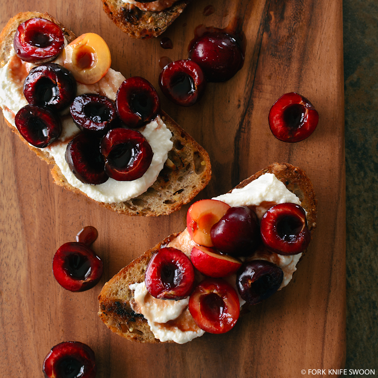Cherry and Ricotta Crostini | Fork Knife Swoon