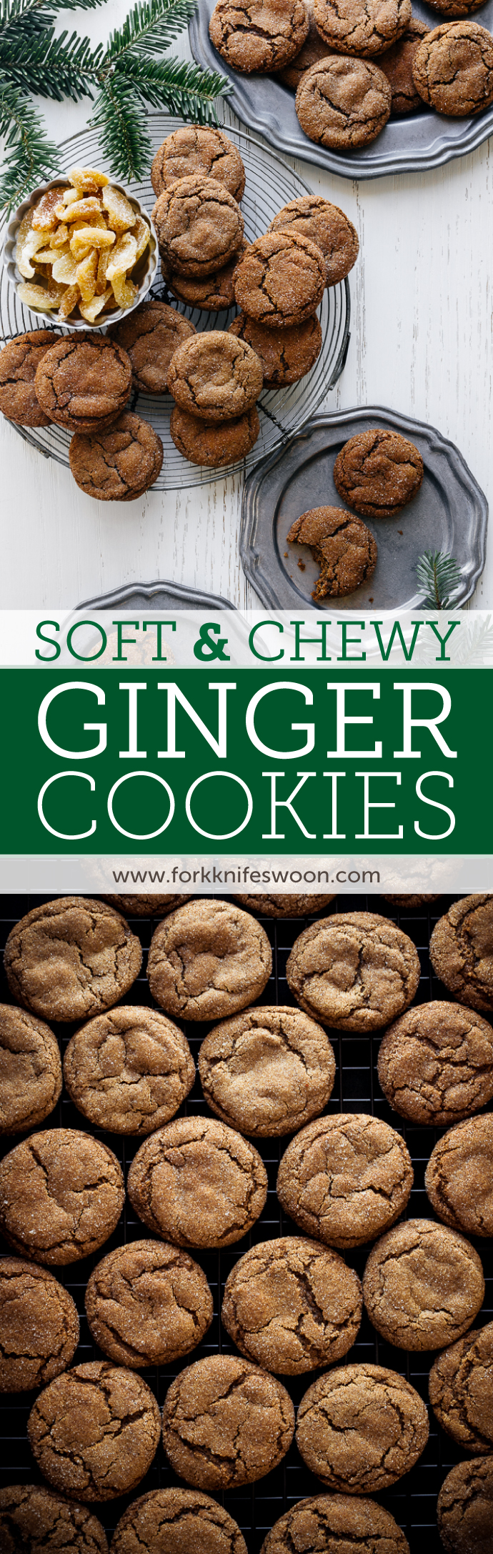 My very favorite Christmas cookie recipe! These easy ginger molasses cookies are soft, chewy, full of flavor, and always first on my holiday cookie baking list. | via forkknifeswoon.com