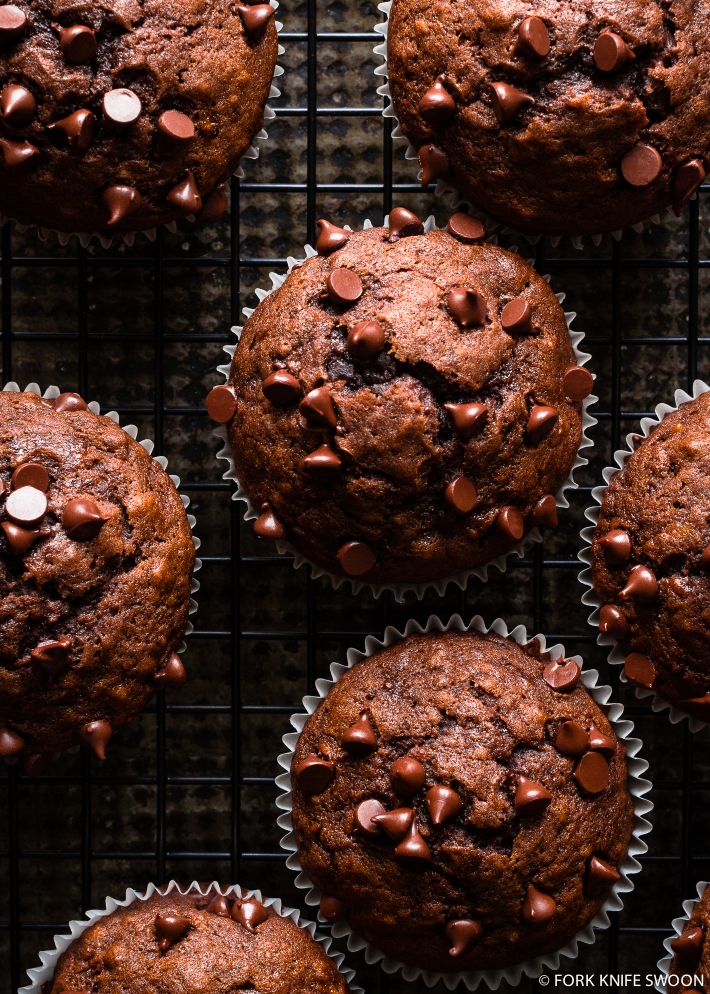 Dark Chocolate Banana Muffins   Fork Knife Swoon