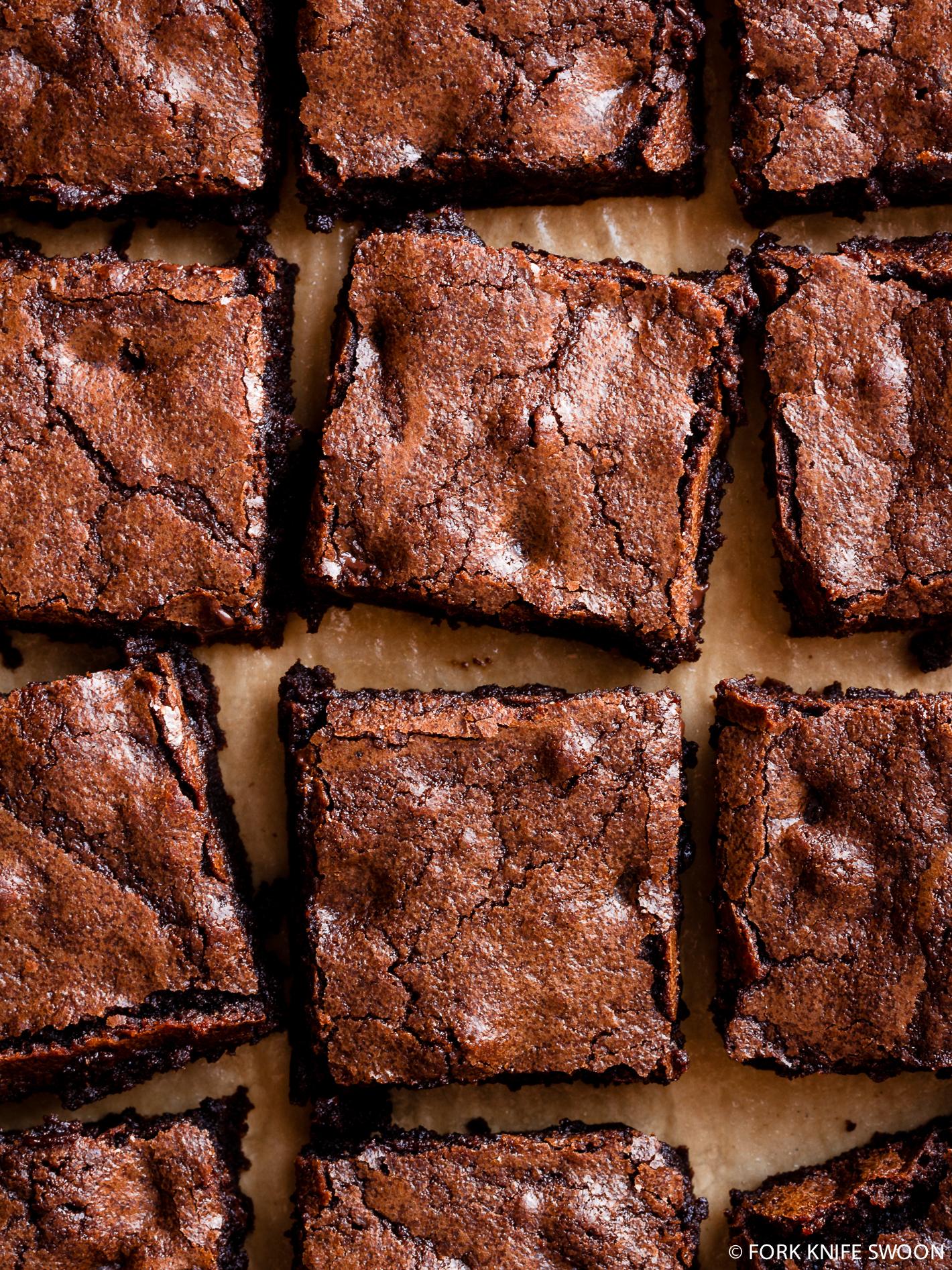 Chewy Triple Dark Chocolate Brownies | Fork Knife Swoon