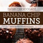 Easy One Bowl Dark Chocolate Banana Muffins via forkknifeswoon.com