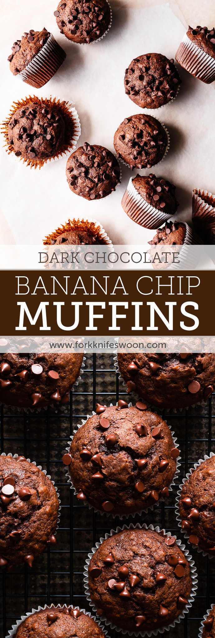 One Bowl Dark Chocolate Banana Muffins | Fork Knife Swoon @forkknifeswoon