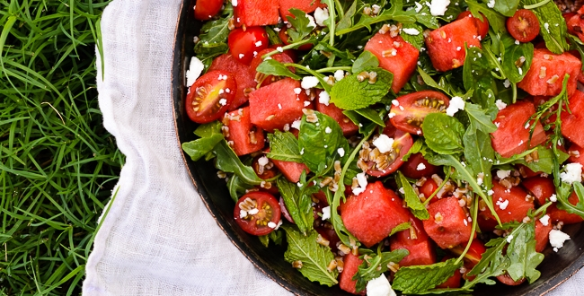 Tomato and Watermelon Salad with Feta and Herbs + An Announcement!