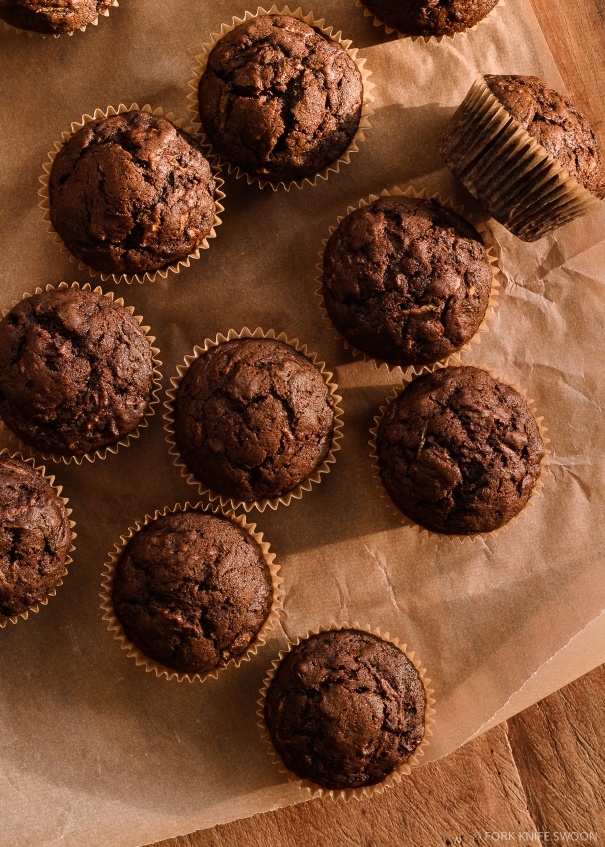 Dark Chocolate Zucchini Muffins... Or Cupcakes | Fork Knife Swoon