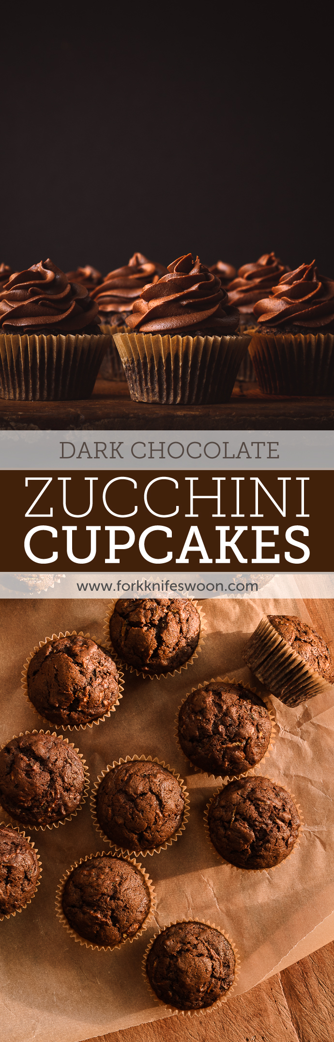 Dark Chocolate Zucchini Muffins or Cupcakes | Fork Knife Swoon @forkknifeswoon