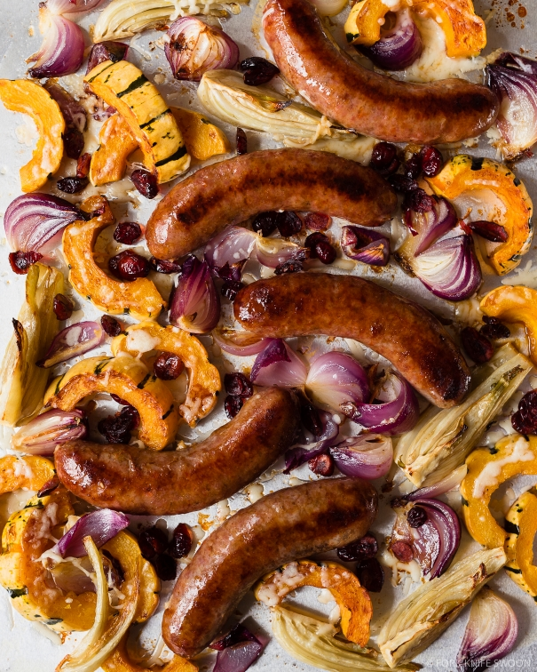 Spicy Roasted Sausages with Squash, Fennel and Onion | Fork Knife Swoon @forkknifeswoon