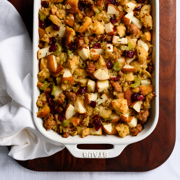 Sourdough Sausage and Pear Dressing/Stuffing with Sage and Cranberries | Fork Knife Swoon @forkknifeswoon