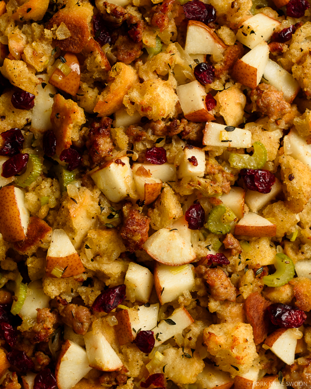 Sourdough, Sausage and Pear Stuffing - Fork Knife Swoon