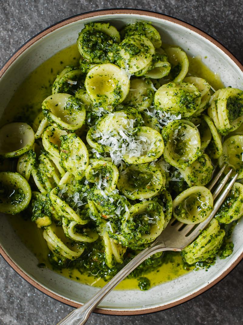 Easy Orecciette Pasta with Kale Pesto via forkknifeswoon.com | @forkknifeswoon