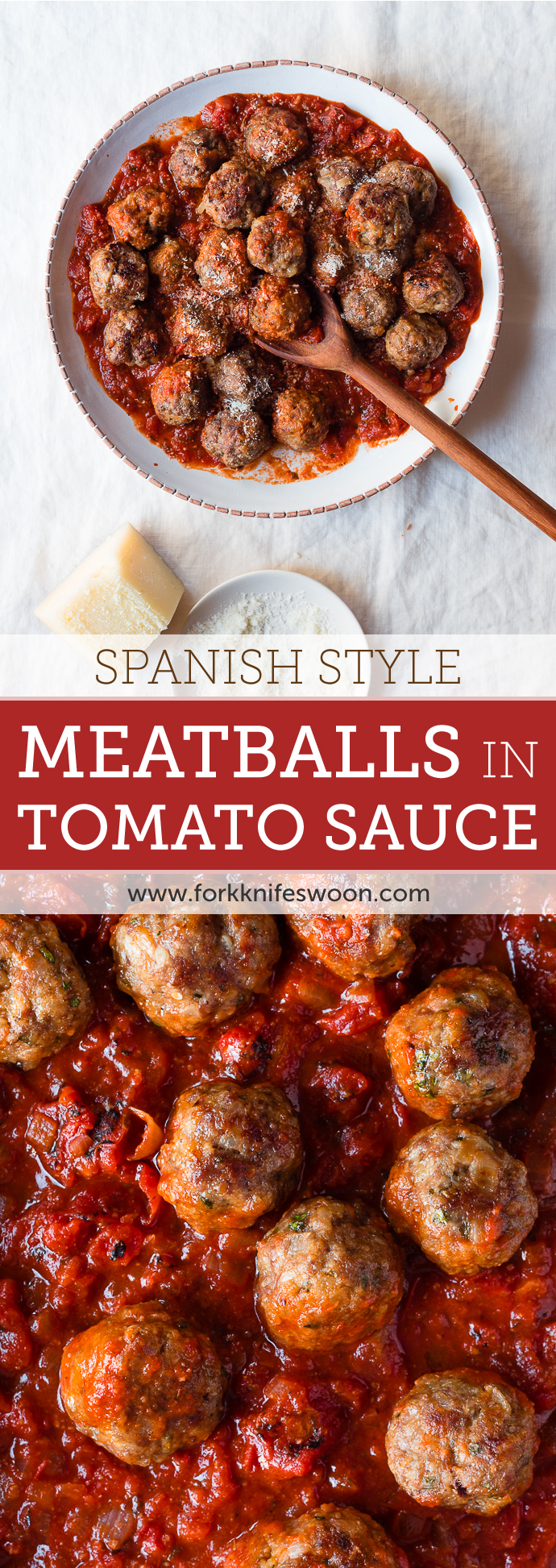 Spanish Style Meatballs in Spicy Tomato Sauce | Fork Knife Swoon @forkknifeswoon