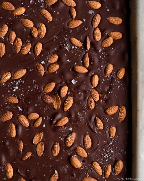 Salted Dark Chocolate Almond Bark | Fork Knife Swoon @forkknifeswoon