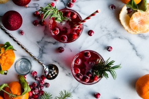 Rosemary Infused Citrus and Cranberry Holiday Pop Cocktail