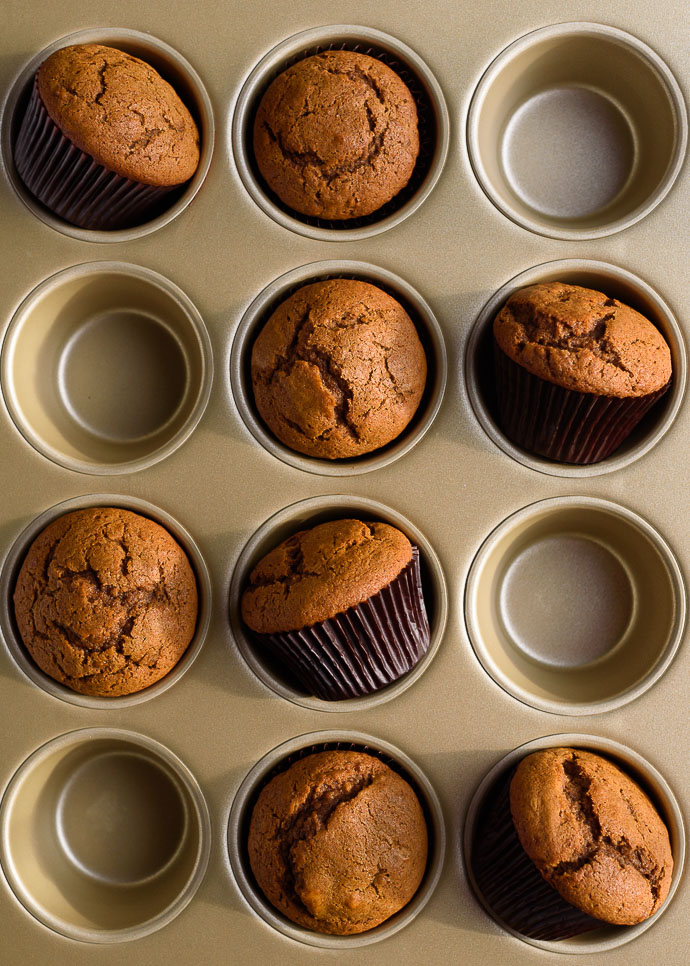 gingerbread muffins in a muffin tin