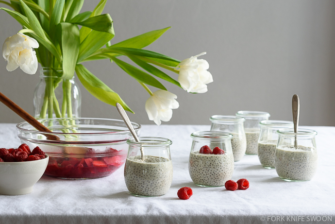 Creamy Vegan Vanilla Chia Pudding with Raspberry Rhubarb Compote | Fork Knife Swoon @forkknifeswoon