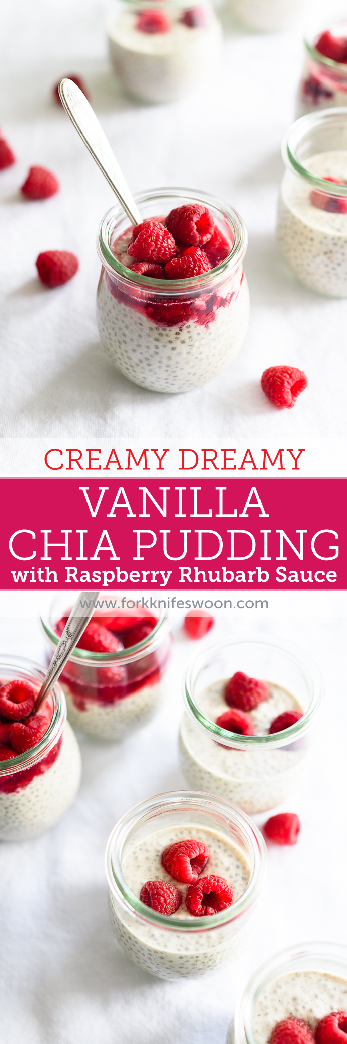 Creamy Vanilla Chia Pudding with Raspberry Rhubarb Compote | Fork Knife Swoon @forkknifeswoon