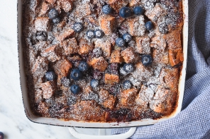 Baked Blueberry Bagel French Toast Casserole