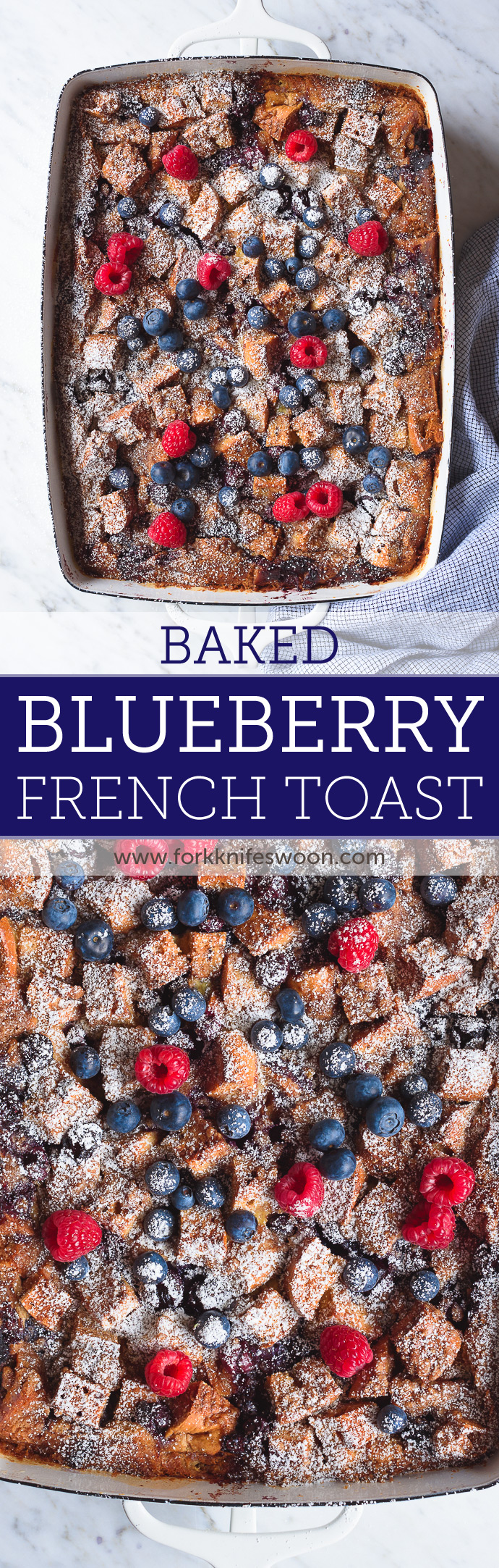 Overnight Baked Blueberry Bagel French Toast Casserole via forkknifeswoon.com
