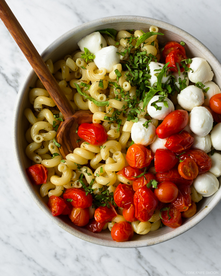 Quick Roasted Tomato Caprese Pasta Salad - Fork Knife Swoon