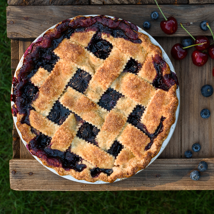 Classic Cherry Blueberry Pie via forkknifeswoon.com