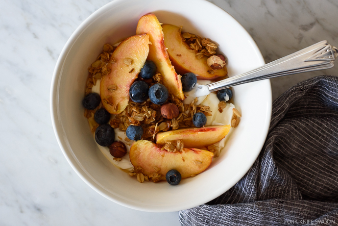 Maple Coconut Granola (v+gf) & Summer Peaches   Fork Knife Swoon @forkknifeswoon